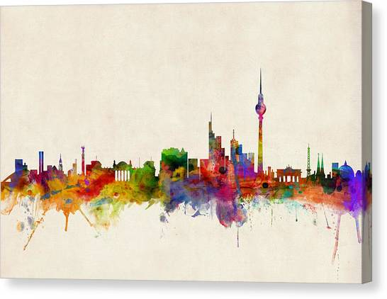 German Canvas Print - Berlin City Skyline by Michael Tompsett