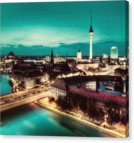Tv Tower Canvas Print - Berlin Germany Major Landmarks At Night by Michal Bednarek