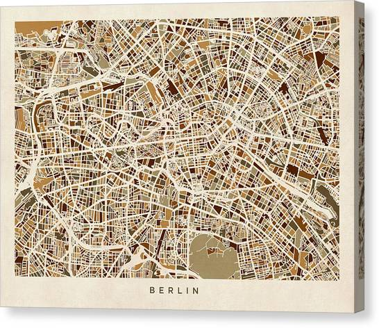 Berlin Canvas Print - Berlin Germany Street Map by Michael Tompsett