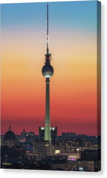 Tv Tower Canvas Print - Berlin - Pastell Study #1 by Jean Claude Castor