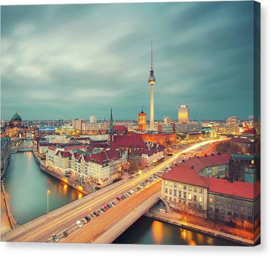 Berlin Skyline With Traffic Canvas Print by Matthias Makarinus