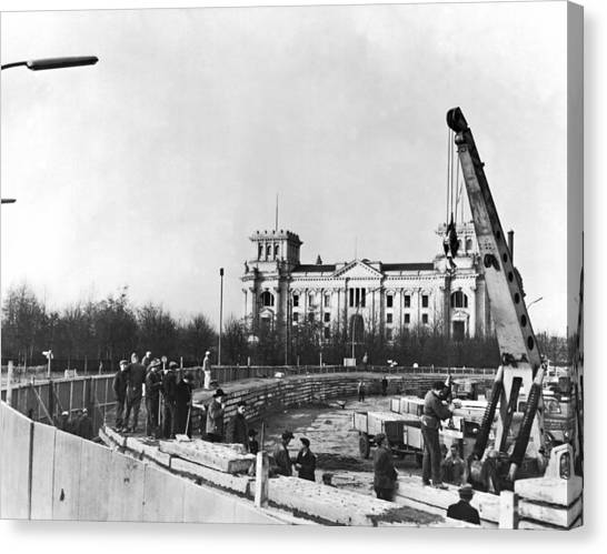 Berlin Wall Canvas Print - Berlin Wall Construction by Underwood Archives