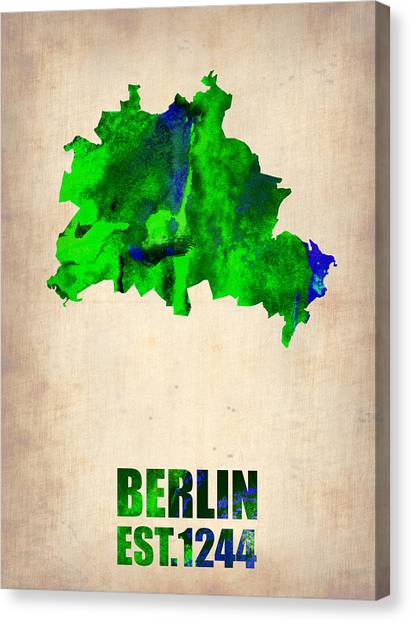Berlin Canvas Print - Berlin Watercolor Map by Naxart Studio