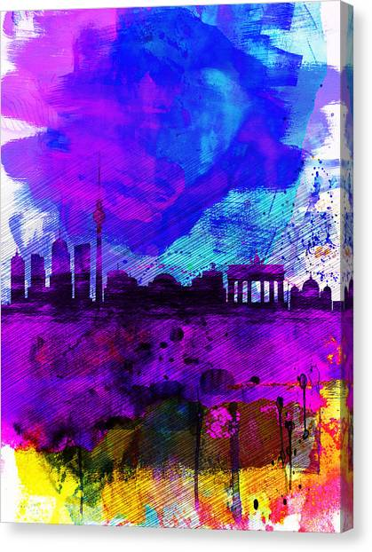 Berlin Canvas Print - Berlin Watercolor Skyline by Naxart Studio