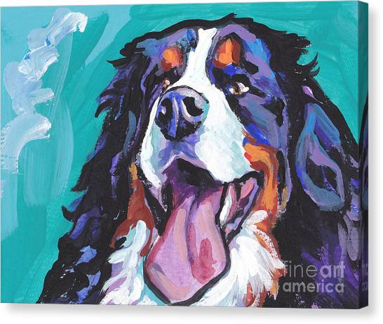Bernese Mountain Dogs Canvas Print - Berner All Smiles by Lea S