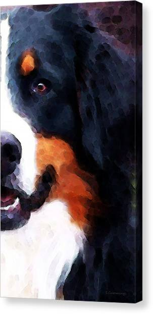 Bernese Mountain Dogs Canvas Print - Bernese Mountain Dog - Half Face by Sharon Cummings