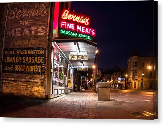 Bernies Fine Meats Signage Canvas Print