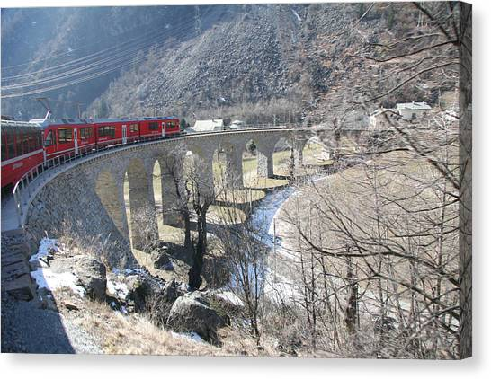 Michel Guntern Canvas Print - Bernina Express In Winter by Travel Pics