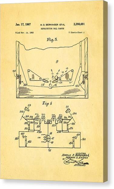 Flipper Canvas Print - Berninger Reprojecting Ball Bumper 2 Patent Art 1967 by Ian Monk