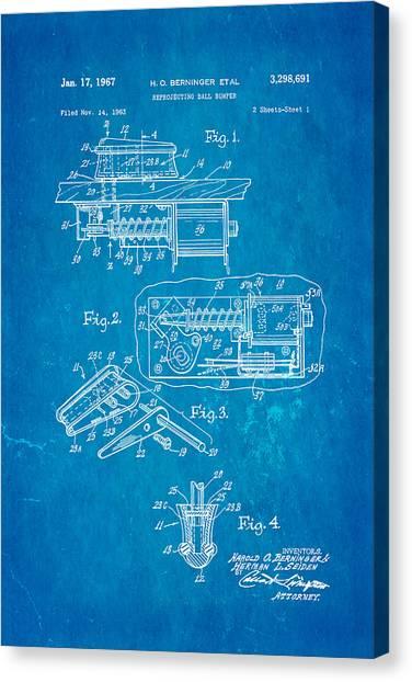 Flipper Canvas Print - Berninger Reprojecting Ball Bumper Patent Art 1967 Blueprint by Ian Monk