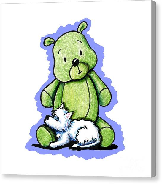 Teddybear Canvas Print - Best Buddies Come In All Sizes by Kim Niles