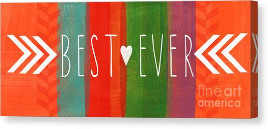 Heart Canvas Print - Best Ever by Linda Woods