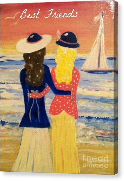 Best Friends Greeting Card Canvas Print