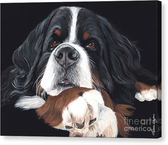 Bernese Mountain Dogs Canvas Print - Best In Black by Liane Weyers