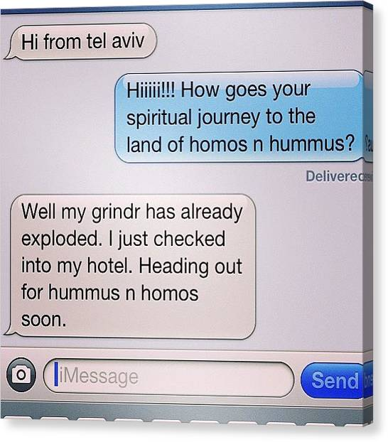 Israeli Canvas Print - Best Texts Ever. #gay #homos #hummus by Bryce Gruber