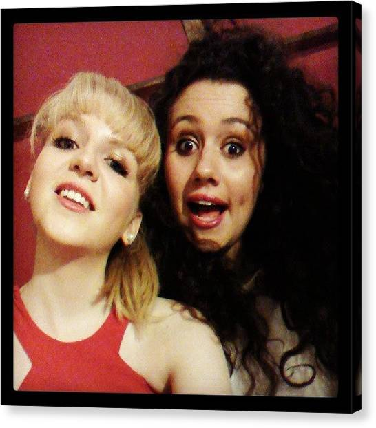 Gin Canvas Print - #bestie #reddress #bighair #blonde by Felicity Geary