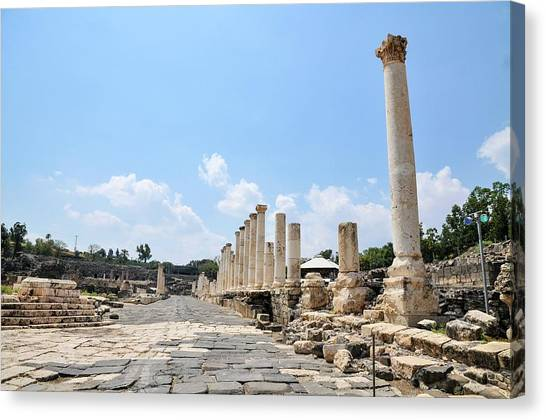 Hellenistic Art Canvas Print - Bet Shean (scythopolis) by Photostock-israel