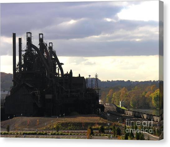 Bethlehem Steel On The Lehigh River Canvas Print