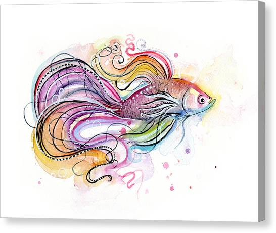 Tropical Fish Canvas Print - Betta Fish Watercolor by Olga Shvartsur