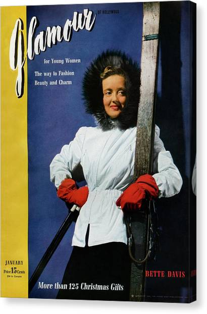 Bette Davis On The Cover Of Glamour Canvas Print by John Rawlings