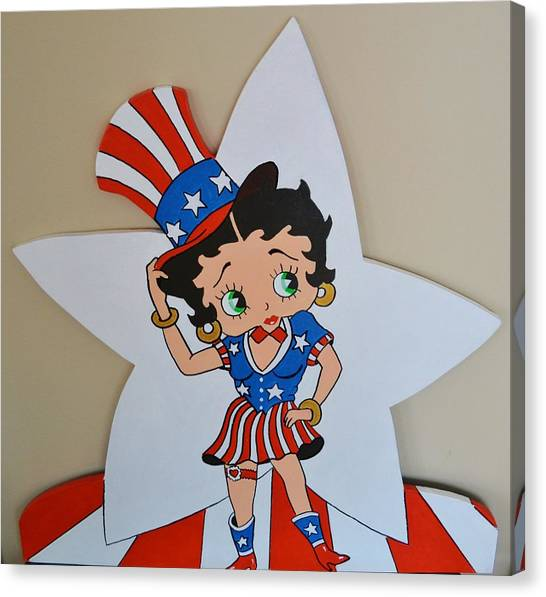 Betty Boop Celibrating The 4th O July Canvas Print