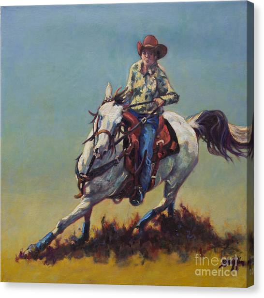 Barrel Racing Canvas Print - Betty Jean by Patricia A Griffin