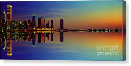 Between Night And Day Chicago Skyline Mirrored Canvas Print