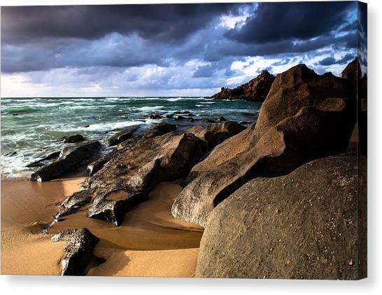 Between Rocks And Water Canvas Print