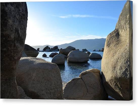 Between The Rocks At Lake Tahoe Canvas Print