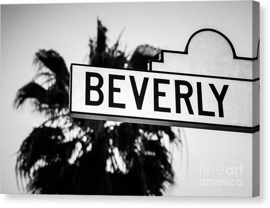 Beverly Hills Canvas Print - Beverly Boulevard Street Sign In Black An White by Paul Velgos