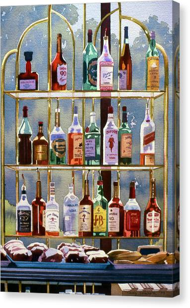 Rum Canvas Print - Beverly Hills Bottlescape by Mary Helmreich