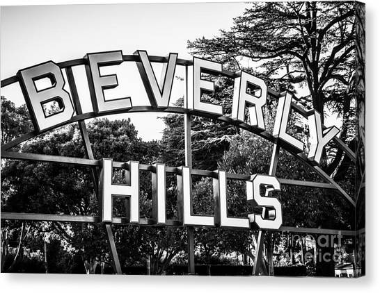 Beverly Hills Canvas Print - Beverly Hills Sign In Black And White by Paul Velgos