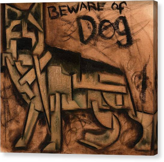 Tommervik Beware Of Dog Art Print Canvas Print by Tommervik