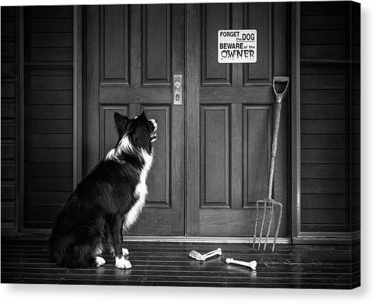 Bone Canvas Print - Beware Of The Owner by Jacqueline Hammer
