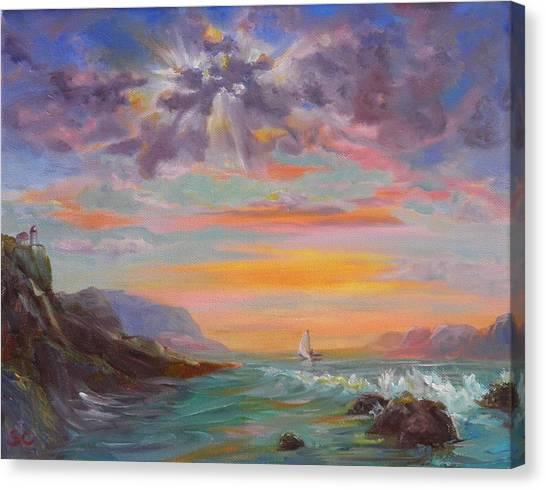 Beyond The Sunset Canvas Print by Sharon Casavant