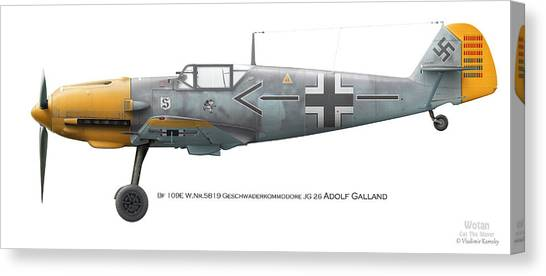 Profile Canvas Print - Bf 109e W.nr.5819 Geschwaderkommodore Jg 26 Adolf Galland by Vladimir Kamsky