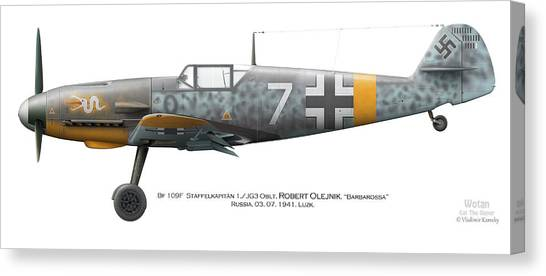 Profile Canvas Print - Bf 109f-2. Staffelkapitan 1./jg 3 Oblt. Robert Olejnik. 3 July 1941. Lyzk. Russia. 1941 by Vladimir Kamsky