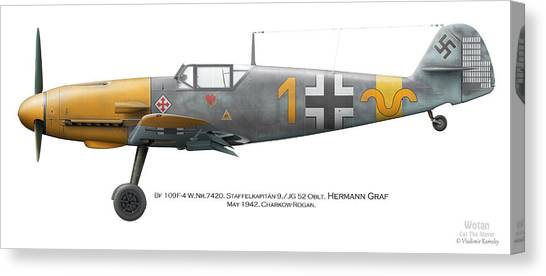 Profile Canvas Print - Bf 109f-4 W.nr.7420. Staffelkapitan 9./jg 52 Oblt. Hermann Graf. May 1942. Charkow-rogan. by Vladimir Kamsky