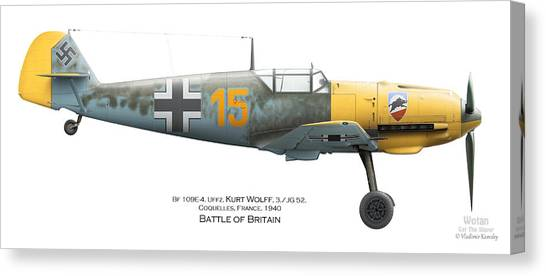 Profile Canvas Print - Bf109e-4. Uffz. Kurt Wolff. 3./jg 52. Coquelles. France. Battle Of Britain 1940 by Vladimir Kamsky