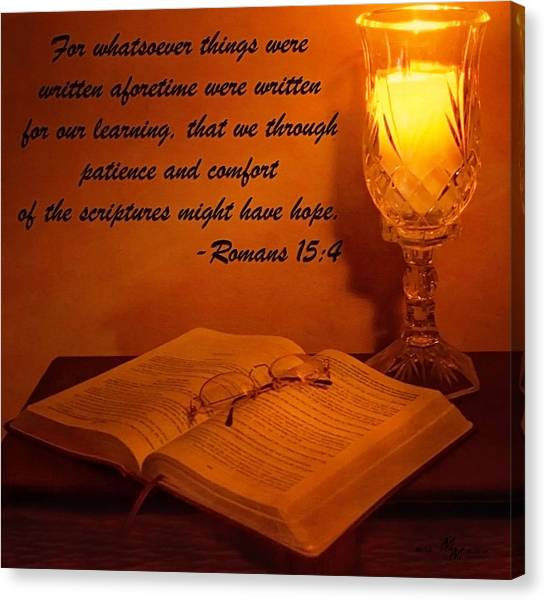 Bible By Candlelight Canvas Print