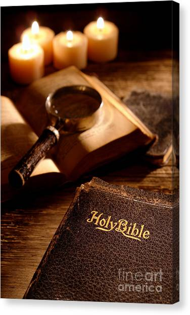 Holy Bible Canvas Print - Bible Study by Olivier Le Queinec