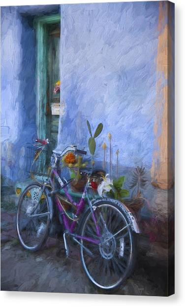 Southwest Canvas Print - Bicycle And Blue Wall Painterly Effect by Carol Leigh