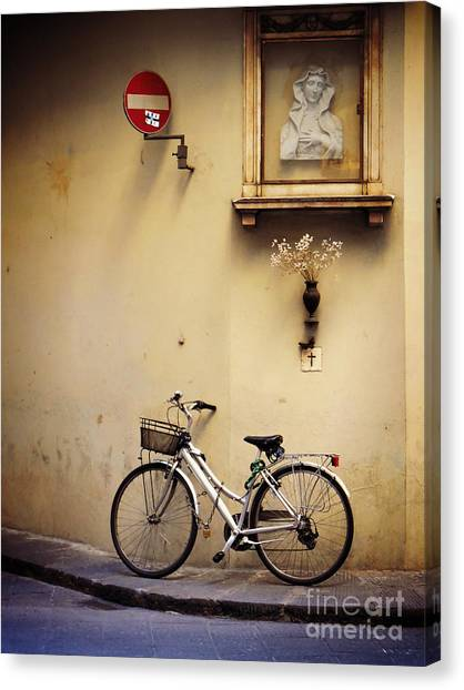 Bicycle And Madonna Canvas Print