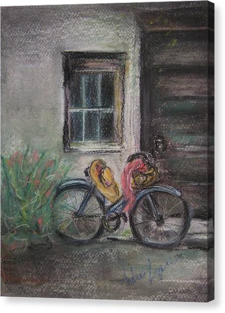 Bicycle By The Door Canvas Print by Andrea Flint Lapins