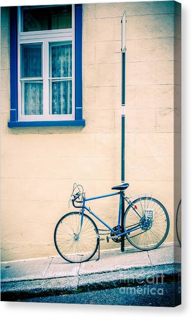 Quebec Canvas Print - Bicycle On The Streets Of Old Quebec City by Edward Fielding