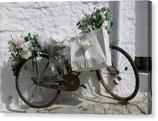 Shopping Bag Canvas Print - Bicycle Parked Against A Wall, Trulli by Panoramic Images