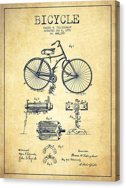 Bicycle Canvas Print - Bicycle Patent Drawing From 1891 - Vintage by Aged Pixel
