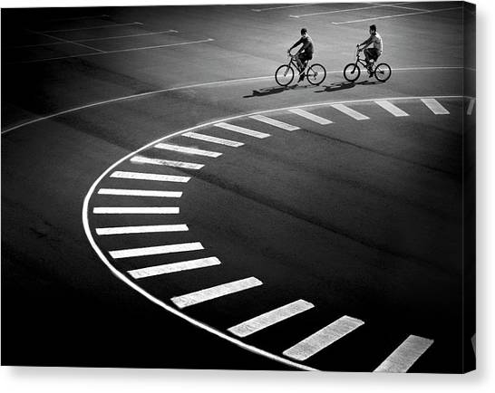 Street Canvas Print - Bicycle Track by Marc Apers