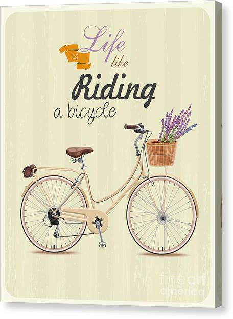 Symbols Canvas Print - Bicycle With Lavender In Basket. Poster by Tatsiana Tsyhanova