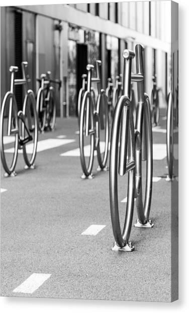 Pavers Canvas Print - Bicycles Parking by Aldona Pivoriene